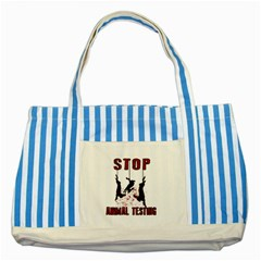 Stop Animal Testing   Rabbits  Striped Blue Tote Bag