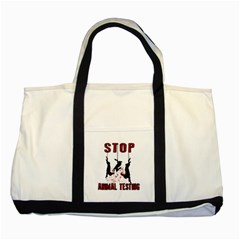 Stop Animal Testing   Rabbits  Two Tone Tote Bag