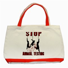 Stop Animal Testing   Rabbits  Classic Tote Bag (red)