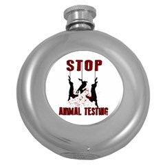 Stop Animal Testing   Rabbits  Round Hip Flask (5 Oz)