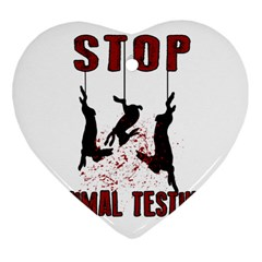 Stop Animal Testing   Rabbits  Heart Ornament (two Sides)