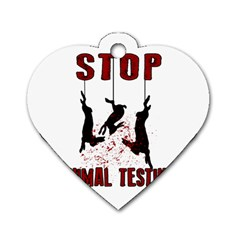 Stop Animal Testing   Rabbits  Dog Tag Heart (two Sides)