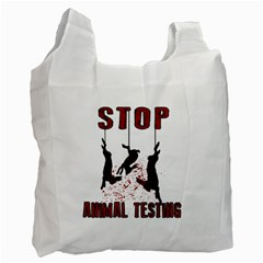 Stop Animal Testing   Rabbits  Recycle Bag (one Side)
