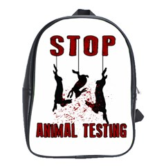 Stop Animal Testing   Rabbits  School Bag (large)