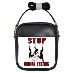 Stop Animal Testing   Rabbits  Girls Sling Bags