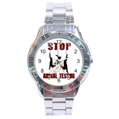 Stop Animal Testing   Rabbits  Stainless Steel Analogue Watch