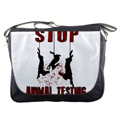 Stop Animal Testing   Rabbits  Messenger Bags