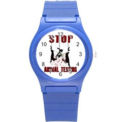 Stop Animal Testing   Rabbits  Round Plastic Sport Watch (s)