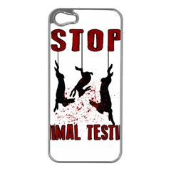 Stop Animal Testing   Rabbits  Apple Iphone 5 Case (silver)