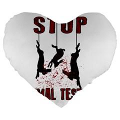 Stop Animal Testing   Rabbits  Large 19  Premium Heart Shape Cushions