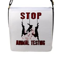 Stop Animal Testing   Rabbits  Flap Messenger Bag (l)