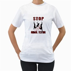Stop Animal Testing   Rabbits  Women s T Shirt (white)