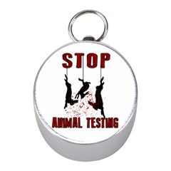 Stop Animal Testing   Rabbits  Mini Silver Compasses