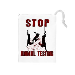 Stop Animal Testing   Rabbits  Drawstring Pouches (medium)
