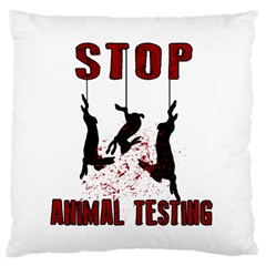 Stop Animal Testing   Rabbits  Large Flano Cushion Case (two Sides)