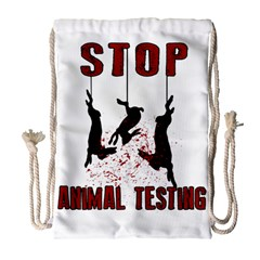 Stop Animal Testing   Rabbits  Drawstring Bag (large)