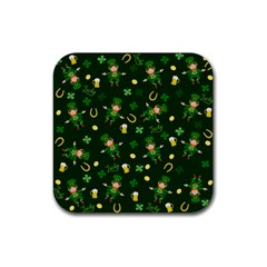 St Patricks Day Pattern Rubber Square Coaster (4 Pack)