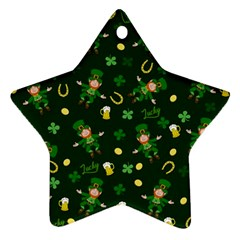 St Patricks Day Pattern Star Ornament (two Sides)