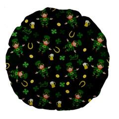 St Patricks Day Pattern Large 18  Premium Round Cushions