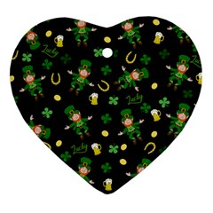 St Patricks Day Pattern Heart Ornament (two Sides)