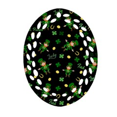 St Patricks Day Pattern Oval Filigree Ornament (two Sides)
