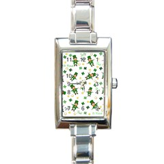 St Patricks Day Pattern Rectangle Italian Charm Watch