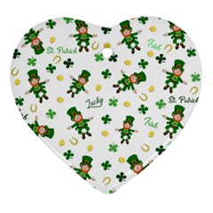 St Patricks Day Pattern Ornament (heart)