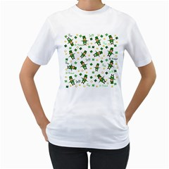 St Patricks Day Pattern Women s T Shirt (white) (two Sided)