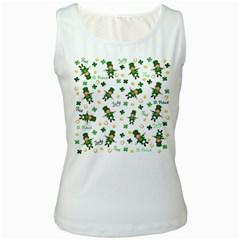St Patricks Day Pattern Women s White Tank Top