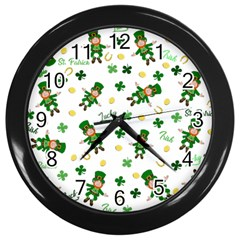 St Patricks Day Pattern Wall Clocks (black)