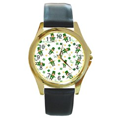 St Patricks Day Pattern Round Gold Metal Watch