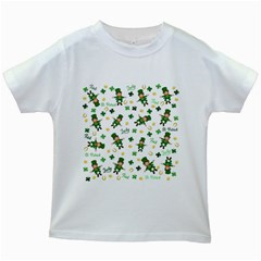 St Patricks Day Pattern Kids White T Shirts