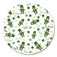 St Patricks Day Pattern Magnet 5  (round)
