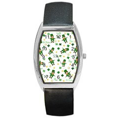 St Patricks Day Pattern Barrel Style Metal Watch