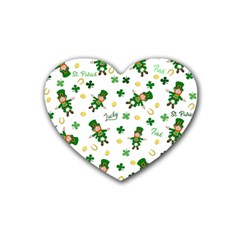 St Patricks Day Pattern Rubber Coaster (heart)