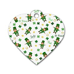 St Patricks Day Pattern Dog Tag Heart (two Sides)