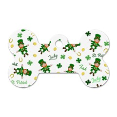 St Patricks Day Pattern Dog Tag Bone (two Sides)