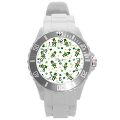 St Patricks Day Pattern Round Plastic Sport Watch (l)