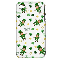 St Patricks Day Pattern Apple Iphone 4/4s Hardshell Case (pc+silicone)