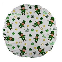 St Patricks Day Pattern Large 18  Premium Round Cushions