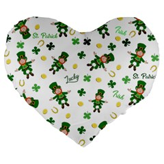 St Patricks Day Pattern Large 19  Premium Heart Shape Cushions