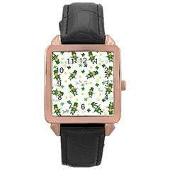 St Patricks Day Pattern Rose Gold Leather Watch