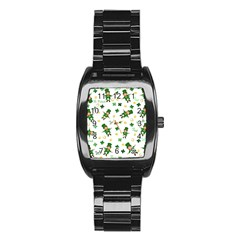 St Patricks Day Pattern Stainless Steel Barrel Watch