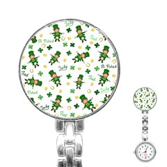 St Patricks Day Pattern Stainless Steel Nurses Watch