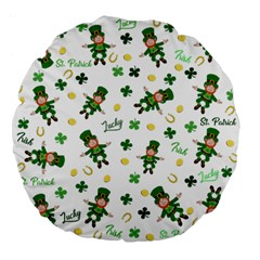 St Patricks Day Pattern Large 18  Premium Flano Round Cushions