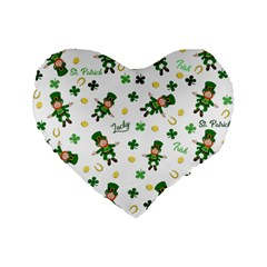 St Patricks Day Pattern Standard 16  Premium Flano Heart Shape Cushions