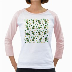 St Patricks Day Pattern Girly Raglans