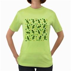St Patricks Day Pattern Women s Green T Shirt