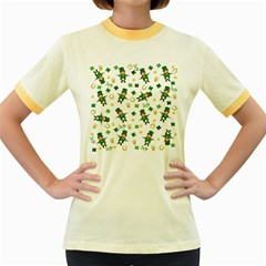 St Patricks Day Pattern Women s Fitted Ringer T Shirts