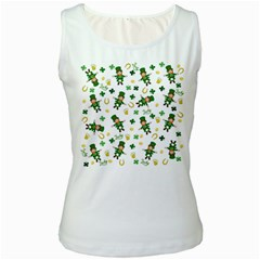 St Patricks Day Pattern Women s White Tank Top